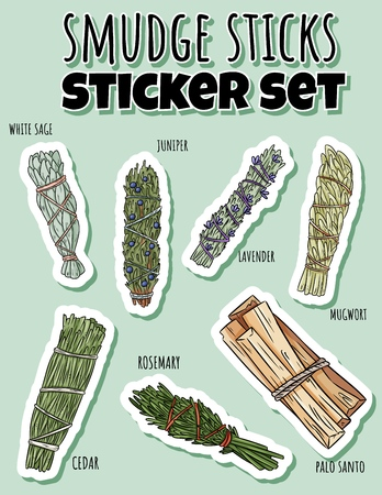 Sage smudge sticks hand-drawn sticker set. Herb bundles collection