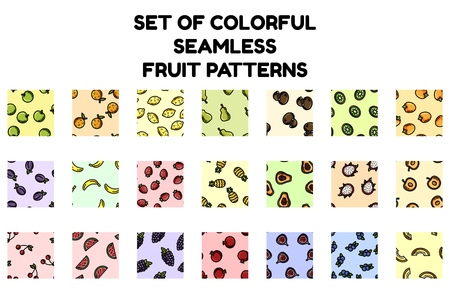 Set of colorful fruit seamless patterns. Flat design collection of texture tiles Stock Photo - 124623659