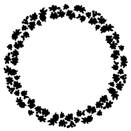 Flowers black wreath ornament silhouette. Flower pattern design