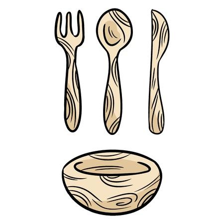 Juego de garabatos de bambú reutilizable. Vajilla de cocina reciclable sin desperdicio. Tenedor, cuchillo, cuchara, plato desechables ecológicos. Ilustración de vector aislado