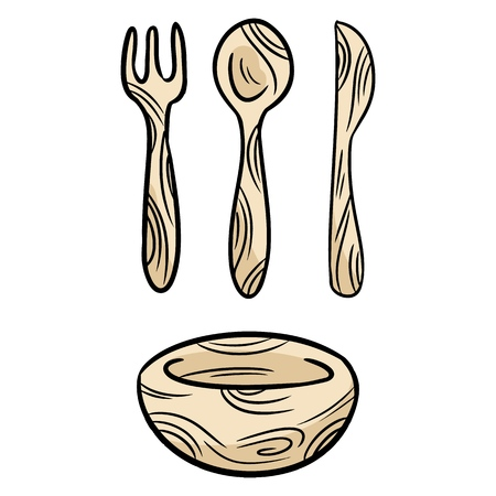 Reusable bamboo kithcenware set of doodles. Zero waste recyclable kitchen tableware. Eco-friendly disposable fork, knife, spoon, plate. Isolated vector illustration
