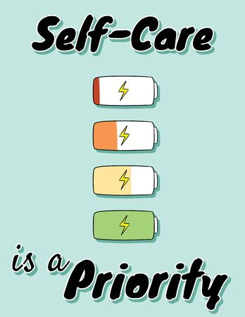 Self-care is a priority. Charge your inner battery. Motivational cartoon postcard