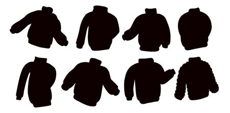 Black silhouettes sweater jumper collection. Set of casual clothing symbols  イラスト・ベクター素材