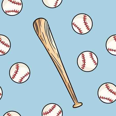 Nahtloses Muster des Baseballballs und des Schlägers. Nette gezeichnete Gekritzelhintergrundfliese des Gekritzels