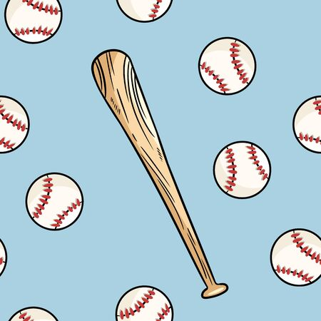 Baseball ball and bat seamless pattern. Cute doodle hand drawn doodles background tile