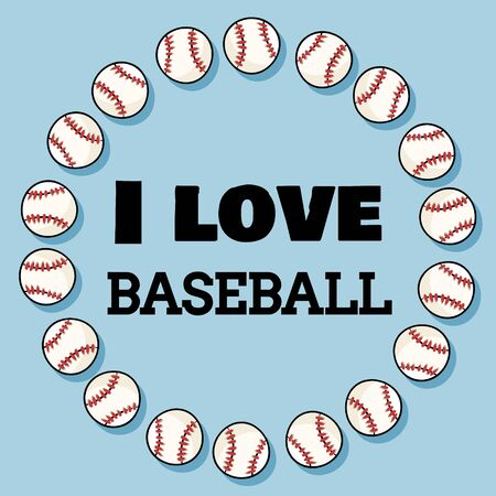 I love baseball sport banner design in wreath of baseballs. Baseball tournament and typography
