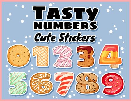 Set of tasty numbers symbols stickers. Delicious, sweet, glazed, chocolate, yummy, tasty, shaped font numbers. Colorful vector typography elements Stock Illustratie