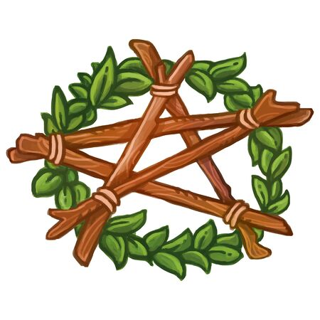 Pentagram wreath with ivy and wooden stickes. Isolated vector illustration