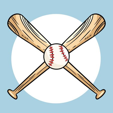 Two crossed baseball bats and ball, icon logo. Vector isolated illustration,. Simple shape for design