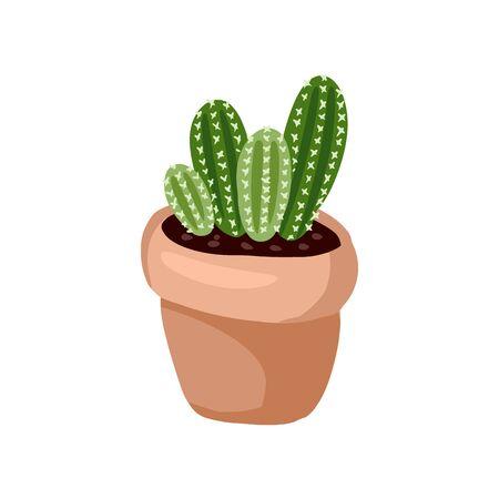 Hygge potted cactus plant. Cozy lagom scandinavian style succulent image Ilustração