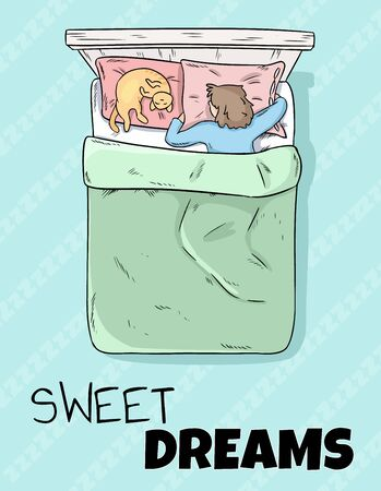 Sweet dreams cute postcard. Girl sleeping peacefully in bed