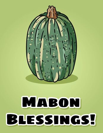 Mabon Blessings fall pagan holiday pumpkin postcard. Autumn harvest celebration flyer
