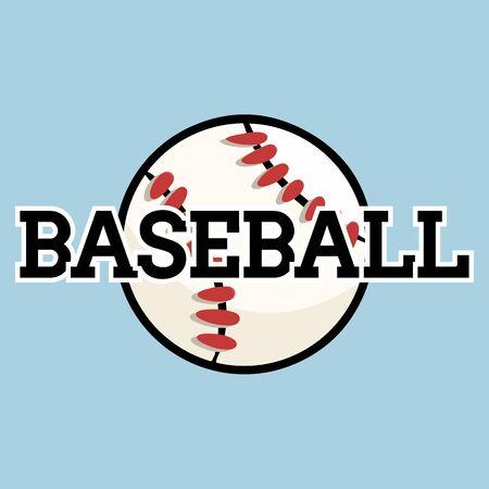 Baseball sport textbanner design with game ball. Baseball print