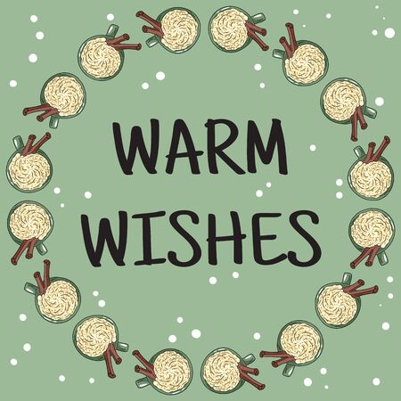 Warm wishes banner with cups oflatte coffee. Hand drawn cartoon style postcard, cute wreath design Stock Illustratie