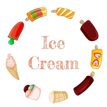 Ice cream banner with ice cream, eskimo, gelato doodles. Hand drawn cartoon style poster, cute wreath design Ilustração