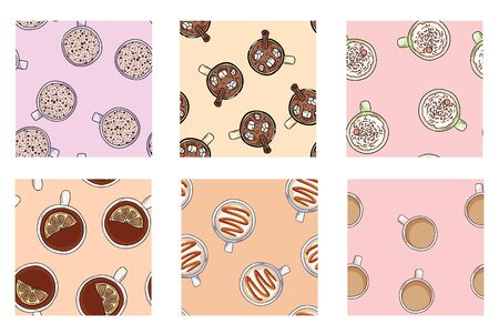 Set of cups of coffee and yummy drinks cute seamless patterns in pastel colors. Texture tile