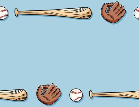 Baseball seamless pattern. Letter template. Cute doodle hand drawn balls, gloves and bats on blue background tile Ilustração