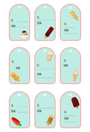 Set of ice cream cute festive gift tags. Cute ice cream label collection