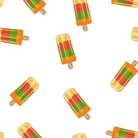 Fruit ice  lollipop ice cream seamless pattern. Cute cartoon style hand drawn background texture Ilustração