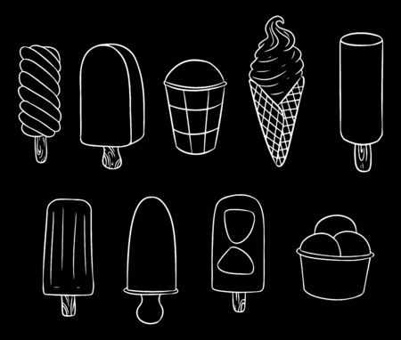Set of ice cream hand drawn chalkboard doodles. Cute ice cream collection
