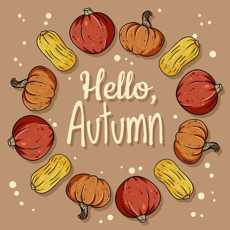 Hello autumn decorative wreath cute cozy banner with pumpkins. Autumn festive poster. Fall harvest postcard Ilustração