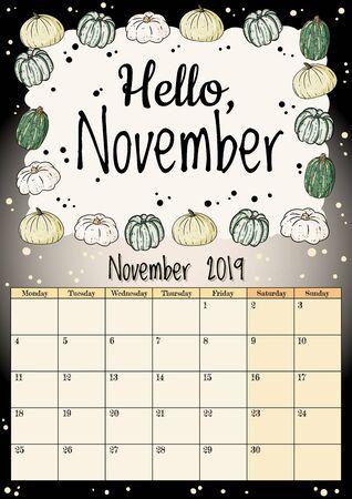 Hello November cute cozy hygge 2019 month calendar planner with pumpkins ornament