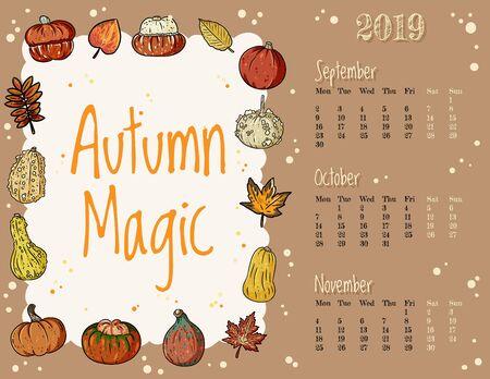 Autumn magic cute cozy hygge 2019 fall calendar with fall symbols ornament
