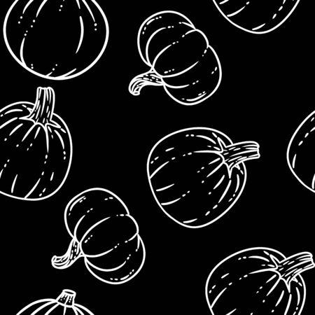 Cute pumpkins cartoon seamless pattern on a black chalkboard.. Halloween decoration hand drawn background texture tile