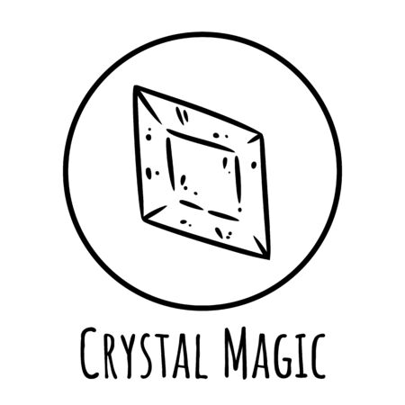 Cute cartoon crystal doodle image. Crystal magic. Media highlights graphic icon
