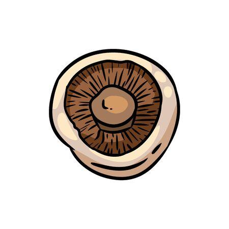Cute cartoon drawn champignon mushroom doodle. Isolated graphic image
