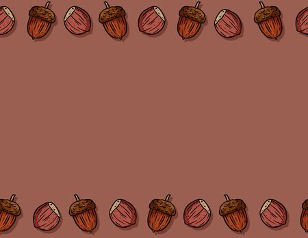 Cute autumn hazelnuts and acorns cartoon seamless pattern. Fall decoration background tile