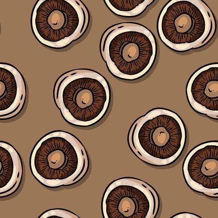 Cute autumn champignons mushrooms seamless pattern. Fall decoration background tile Illusztráció
