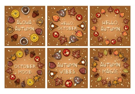 Set of autumn decorative wreaths cute cozy banners. Collection of fall festive poster. Fall harvest postcards