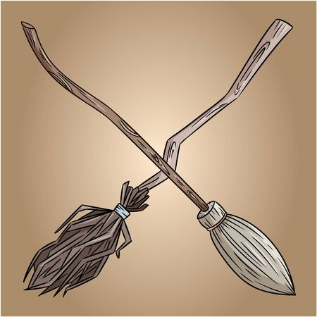 Two crossed broomsticks. Happy Halloween related banner or poster with magic brooms