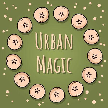 Urban magic. Cute cut in half apples natural drawn decorative wreath cozy poster. Autumn banner. Cartoon style ornament