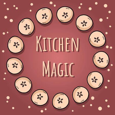Kitchen magic. Cute cut in half apples natural drawn decorative wreath cozy poster. Autumn banner. Cartoon style ornament Illustration