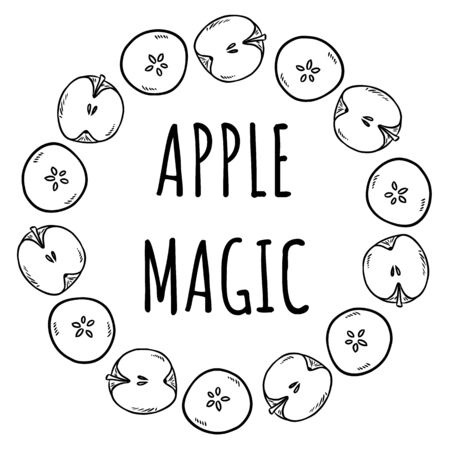 Apple magic. Cute cut in half apples natural drawn decorative wreath cozy poster. Autumn banner. Cartoon style ornament Illustration