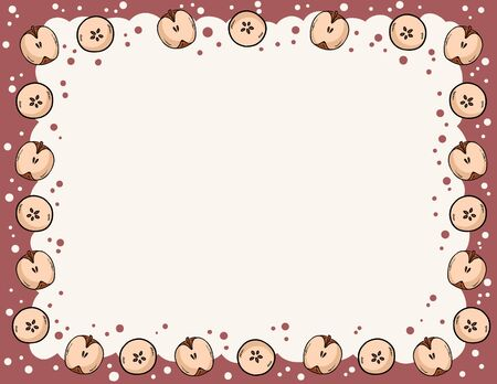 Cute cozy banner with cut in half apples elements. Autumn festive poster. Cute cartoon style template for agenda, planners, check lists, and stationery. Space for text
