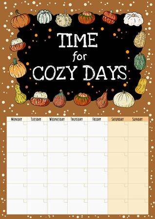 Time for cozy days chalkboard inscription cute cozy month calendar planner with pumpkins decor