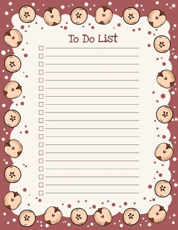 Cozy autumn weekly planner and to do list with trendy apple elements ornament. Cute template for agenda, planners, check lists, and stationery