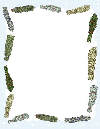 Cute cozy banner with sage smudge sticks elements. Boho indigenous herb bundles flyer. Cute cartoon style template for agenda, planners, check lists, and other stationery Imagens