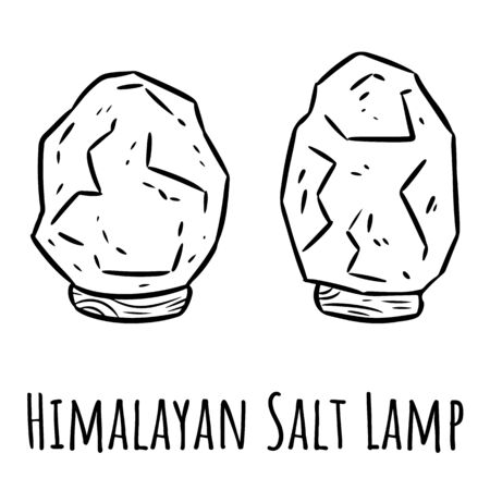 Himalayan salt lamps. Linear indigenous monogram with salt crystals. Relax concept symbol  イラスト・ベクター素材