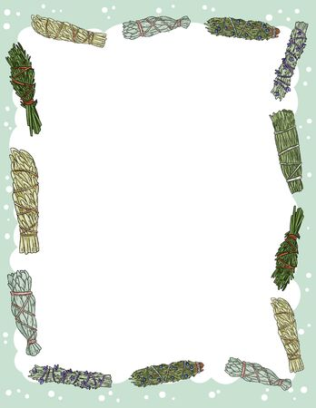 Cute cozy banner with sage smudge sticks elements. Boho indigenous herb bundles flyer. Cute cartoon style template for agenda, planners, check lists, and other stationery Çizim