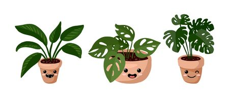 Set of hygge potted kawaii emoticon emoji succulent plants. Lagom scandinavian style collection of plants Stock Photo