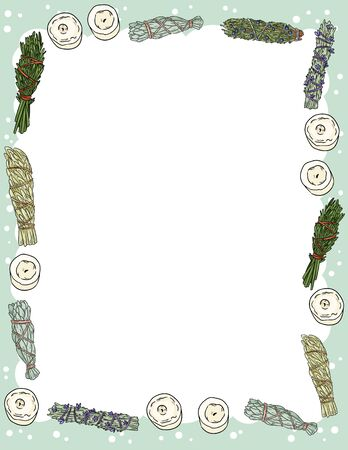 Cute cozy banner with sage smudge sticks and candles elements. Boho indigenous herb bundles flyer. Cute cartoon style template for agenda, planners, check lists, and other stationery