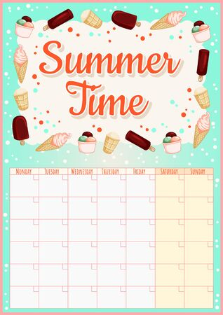 Sunny Vibes. Colorful monthly calendar with ice cream elements. Tasty summer planner. Cute cartoon style hygge template for agenda, planners, check lists, and other stationery