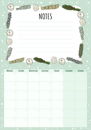 Boho monthly calendar with sage smudge sticks elements and to do list. Hygge herb bundles planner. Cute cartoon style hygge template for agenda, planners, check lists, and other stationery