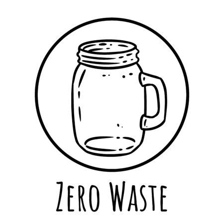 Cute cartoon glass jar doodle image. Zero waste ecologocal logo. Media highlights graphic symbol