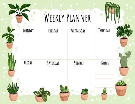 Cozy boho weekly planner and to do list with hygge potted succulent plants ornament. Cute lagom template for agenda, planners, check lists, and other stationery