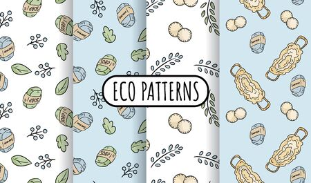 Natural materials eco friendly set of seamless patterns. Ecological and zero-waste tiles. Green house and plastic-free